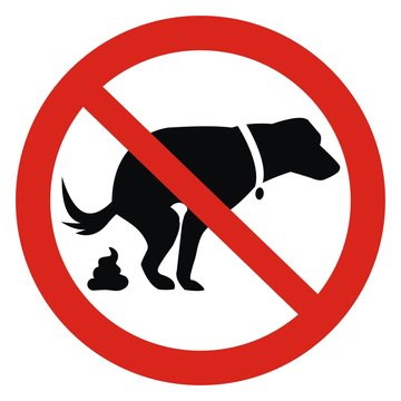 Dog and excrement, no dog pooping sign. Information red circular sign for dog owners. Shitting is not allowed. Vector illustration.