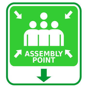 assembly point, sign and sticker