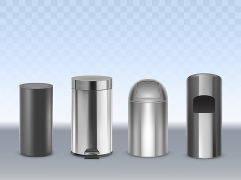 Stainless steel trash cans 3d realistic vector set isolated on transparent background. Cylindrical matte black, glossy, chrome plated metal containers for waste with moving lid and pedal illustration