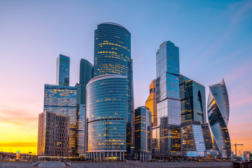 Skyscrapers of Moscow City business center at sunset, Russia.