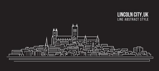 Cityscape Building Line art Vector Illustration design -  Lincoln city ,UK Fotomurales