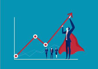 hero businessman trying to bend a red statistic arrow upwards on blue background. Accounting and finance. Profit and loss