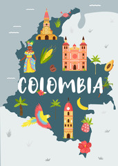 Bright illustrated map of Colombia. Travel banner