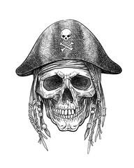 Skull pirate in hat