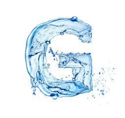 letter G made of water splash isolated on white background
