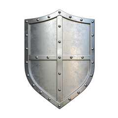 Medieval shield, viking shield painted red and white, isolated on white background, 3d rendering
