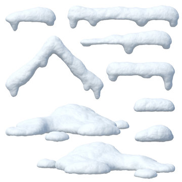 Snow caps set, icicles, snowballs and snowdrifts isolated on white background 3d rendering