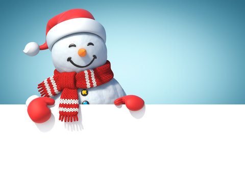 Snowman behind blank white poster, copy space greeting card template, 3d rendering