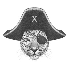 Portrait of Leopard with pirate hat and eye patch. Hand-drawn illustration.