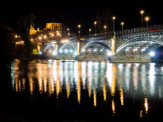 Long exposure night view of the Cathedral and Enrique Estevan bridge in Salamanca (Spain)