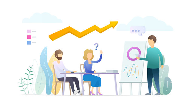Business training flat vector illustration. Sales pitch, presentation. Financial coach, trainer, mentor cartoon character. Stock market analytics, statistics. Conference, seminar, lecture concept.