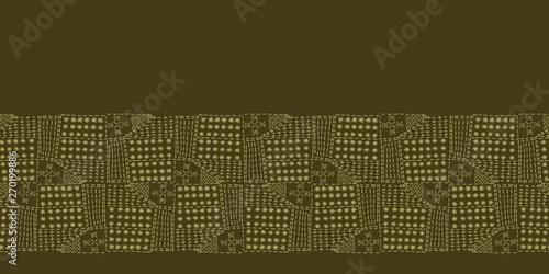 Abstract motif running stitch border  Victorian needlework grid