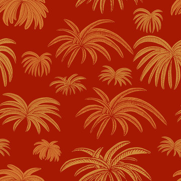 Hand drawn simple seamless pattern of Palms leaves in sandy gold, on redwood brown background - Vector. Useable for deco, textures, wallpaper, backdrops, fashion etc.