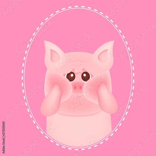 Cute Little Pig With Red Cheeks On Pink Backgrounds For Baby Card