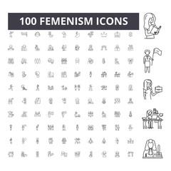 Femenism line icons, signs, vector set, outline concept illustration