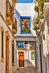 Picturesque alley in the white town of Nijar, in southern Spain.