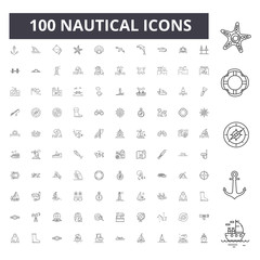 Nautical line icons, signs, vector set, outline concept illustration