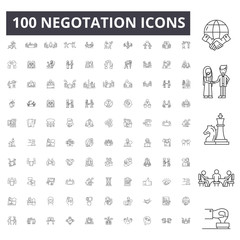 Negotation line icons, signs, vector set, outline concept illustration