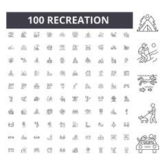 Fototapeta Recreation line icons, signs, vector set, outline concept illustration obraz