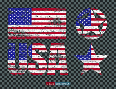 Set of USA symbols. Lettering, grunge american flag, stars.  Transparent background. Template for your design works. Vector illustration.