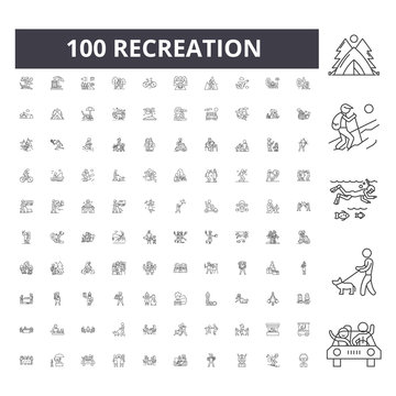 Recreation line icons, signs, vector set, outline concept illustration