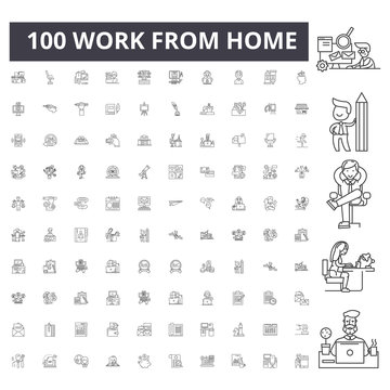 Work from home line icons, signs, vector set, outline concept illustration