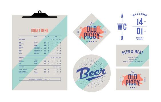 Brand identity set for Beer Bar, Pub. Old school vintage label