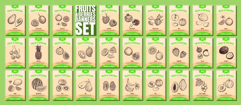 Fruits and berries banners set. Template for your design works. Vector illustration.