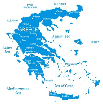 Vector map of Greece | Outline detailed map with city names