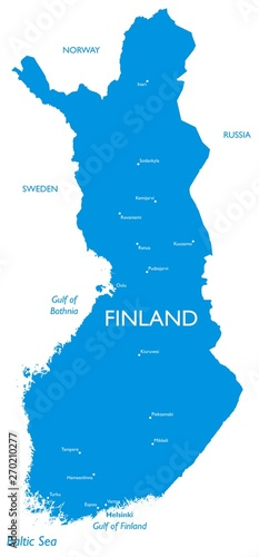 Vector map of Finland | Outline detailed map with city names ...