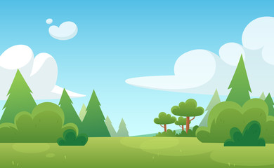 Cartoon background for game and animation. Green forest with blue sky and clouds. Landscape.
