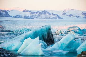 Icebergs at the Jökulsárlón Glacier Lagoon, Iceland, Europe