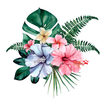 Tropical watercolor bouquet and composition