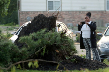 A woman takes a photo of a fallen tree outside of her apartment building in the morning after a tornado touched down overnight in Trotwood