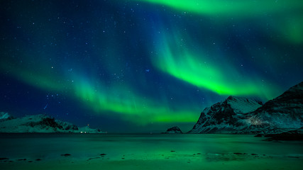Aluminium Prints Northern lights Aurora Borealis Lofoten