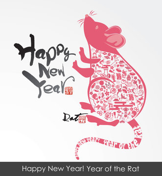 eps Vector image:Happy New Year! Year of the icon Rat