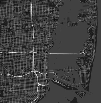 Urban vector city map of Miami, Florida, United States of Americ