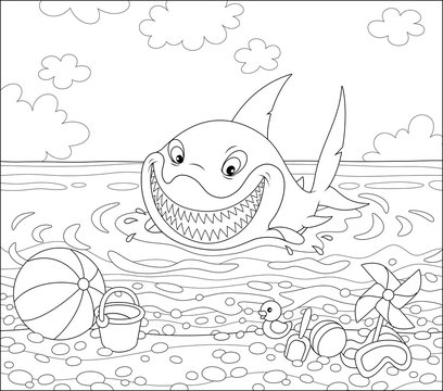 Funny great white shark swimming in water on a summer sea beach and friendly smiling, black and white vector illustration in a cartoon style for a coloring book