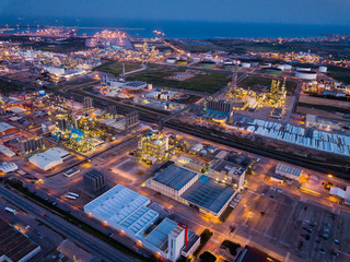 Night aerial view of chemical plant next to Salou