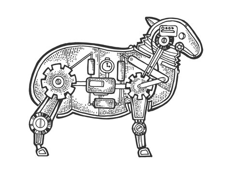 Mechanical sheep ewe animal sketch engraving vector illustration. Scratch board style imitation. Black and white hand drawn image.