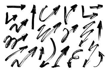 Set of hand drawn grunge arrows. Vector illustration.