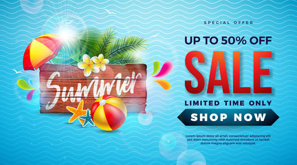 Summer Sale Design with Typography Letter on Vintage Wood Board, Exotic Palm Leaves and Beach Ball on Blue Background. Tropical Vector Special Offer Illustration with Coupon, Voucher, Banner, Flyer