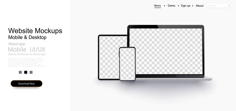 Realistic silver white laptop,smartphone, tablet with blank screen and shadow. Can use for project, presentation. Blank device mock up.