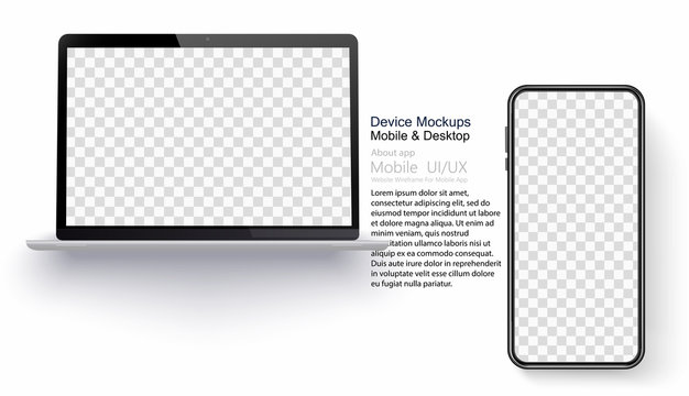 Realistic laptop and smartphone isolated on transparent background. Vector mockup. Vector illustration.
