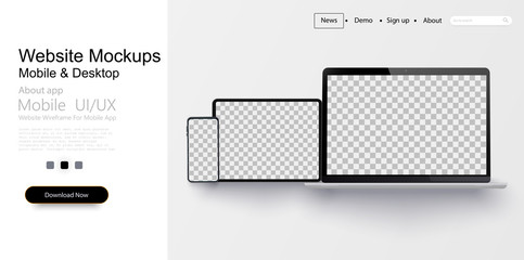 Realistic laptop, tablet and smartphone   isolated on transparent background. Vector mockup. Vector illustration.