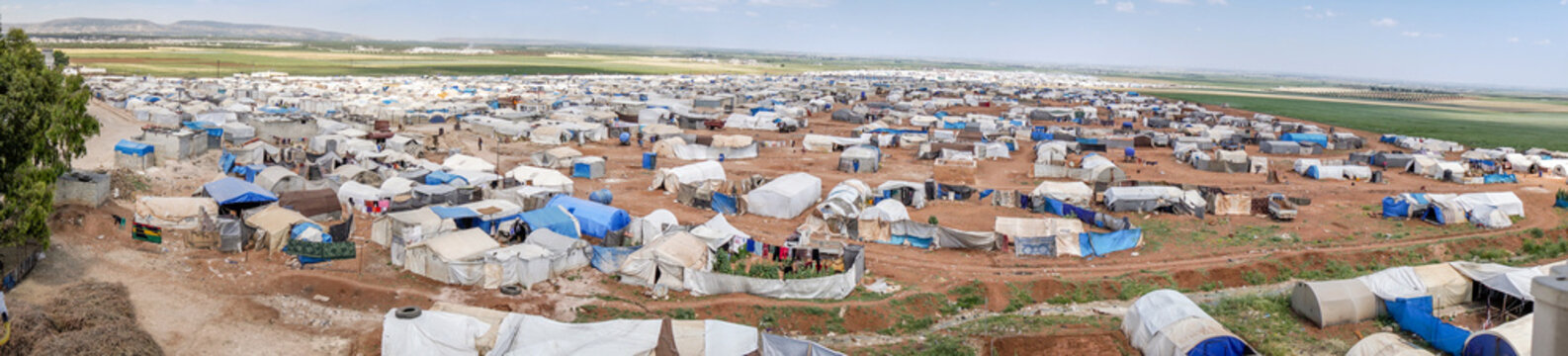 AZEZ, SYRIA – MAY 19: Refugee camp for syrian people on May 19, 2019 in Azez, Syria. In the civil war that began in Syria on 2011, 12 million people were displaced.