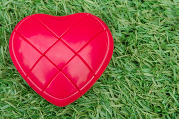 Model of a Red heart on green grass. Red heart on green grass