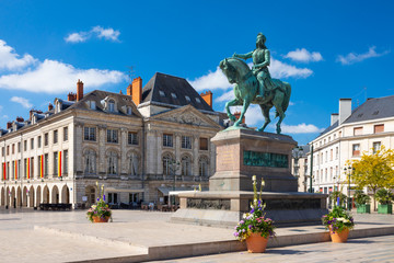 Monument of Jeanne d'Arc (Joan of Arc) on Place du Martroi in Orleans, France