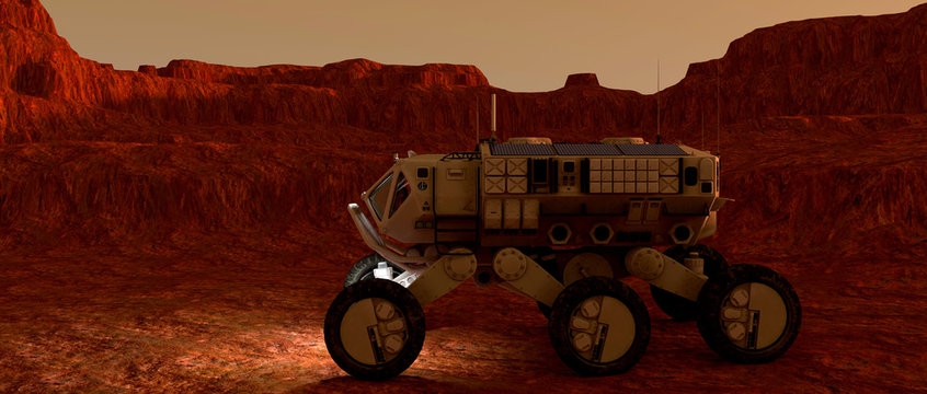 Extremely detailed and realistic high resolution 3d illustration of a Mars Rover Vehicle exploring martian landscape