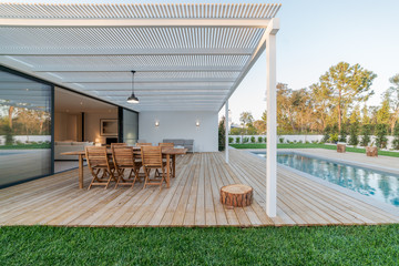 Modern villa with pool and garden Wall mural